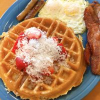 Coconut Strawberry Waffles Full House